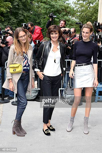 Ines De La Fressange and her daughters Violette d'Urso and Nine d'Urso attend the Chanel show as part of Paris Fashion Week Haute Couture Fall/Winter...