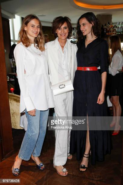 Ines de la Fressange and her daughters Violette D'Urso and Nine D'Urso attend the 'Roger Vivier Loves Berlin' event at Soho House on June 20 2018 in...