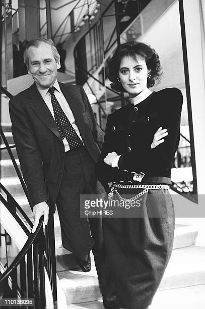 Ines de la Fressange and Jean d'Ormesson at Chanel's house for a TV Show in Paris France on October 30 1987