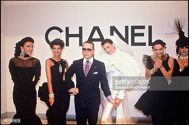 Ines de la Fressange and Karl Lagerfeld's Models at the Chanel 1988 Fall/Winter Collection in Paris