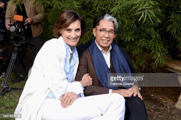 Ines de la Fressange and Kenzo Takada attend the Roger Vivier Presentation Spring/Summer 2019 during Paris Fashion Week on September 27 2018 in Paris...