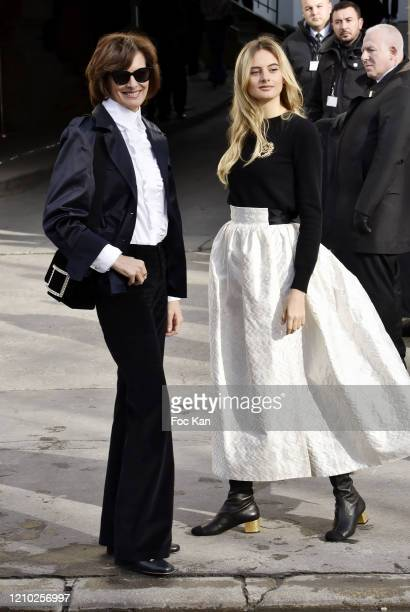 Ines de la Fressange and Violette d'Urso attend the Chanel show as part of the Paris Fashion Week Womenswear Fall/Winter 2020/2021 on March 03, 2020...