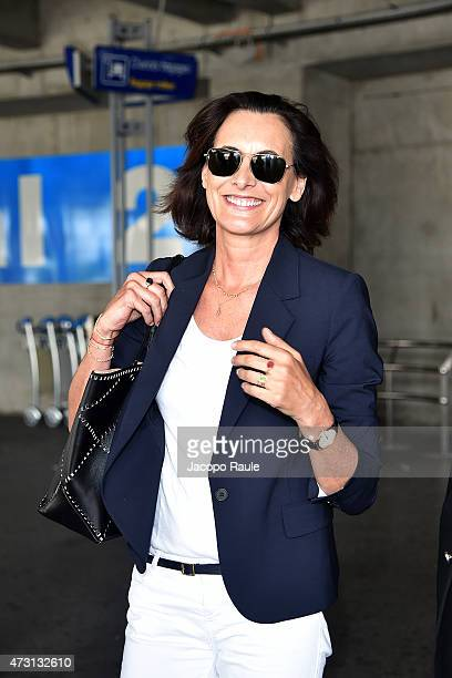 Ines de la Fressange arrives at Nice Airport during the 68th annual Cannes Film Festival on May 13 2015 in Cannes France