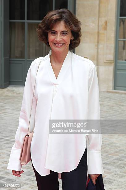 Ines de La Fressange arrives at Schiaparelli show as part of Paris Fashion Week Haute Couture Fall/Winter 20142015 at on July 7 2014 in Paris France