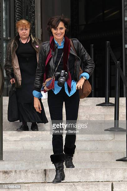 Ines de la Fressange arrives at the Chanel HauteCouture Spring / Summer 2012 Show as part of Paris Fashion Week at Grand Palais on January 24 2012 in...