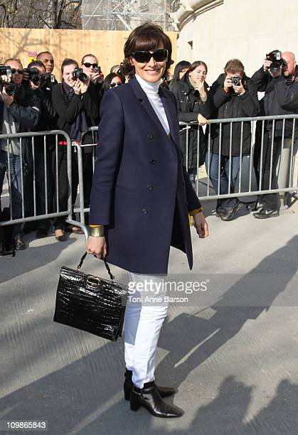 Ines de la Fressange arrives at the Chanel Ready to Wear Autumn/Winter 2011/2012 show during Paris Fashion Week at Grand Palais on March 8 2011 in...