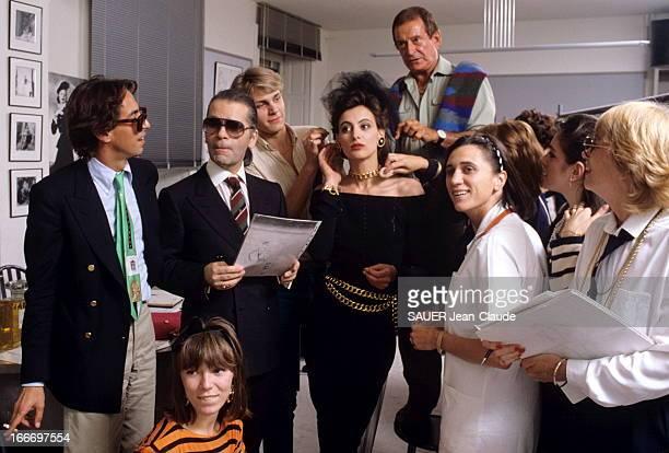 Ines De La Fressange At Chanel Paris Juillet 1984 A 26 ans Inès DE LA FRESSANGE a signé un contrat d'exclusivité de 7 ans avec la maison Chanel...