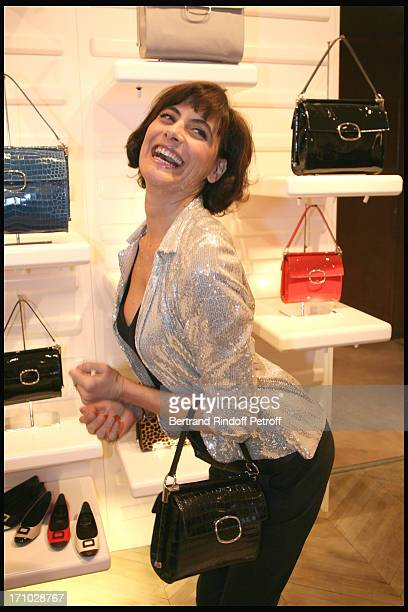 Ines De La Fressange at Cocktail Party To Launch The Miss Viv Bag At The Boutique Roger Vivier The Bag Supported By Carla Bruni Sarkozy Will Raise...
