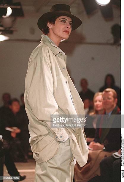 Ines De La Fressange at theYohji Yamamoto Menswear Catwalk Autumn Winter 98/99 Collection.