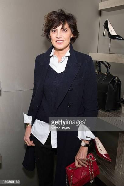 Ines de la Fressange attends the Giorgio Armani Paris avenue Montaigne boutique opening on January 22 2013 in Paris France