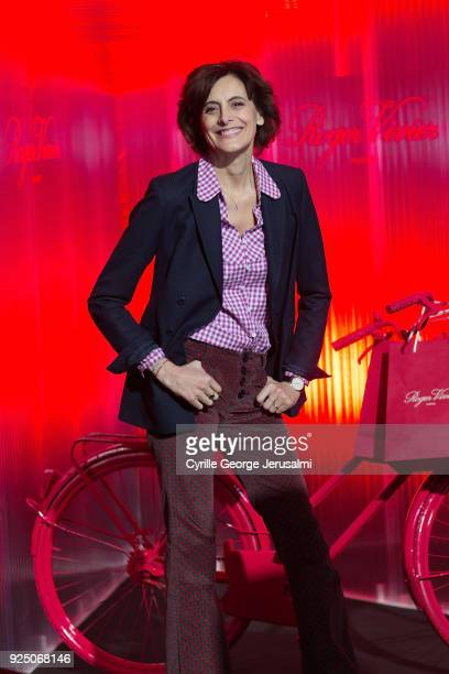 Ines De La Fressange attends the Roger Vivier Fall/Winter 2018 Press Presentation at Espace Cambon Capucines during Paris Fashion week on February 27...
