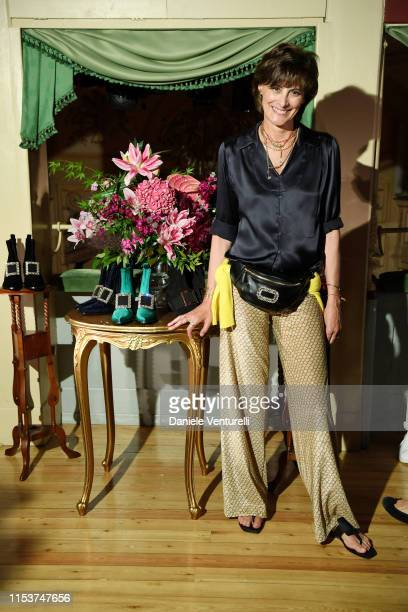 Ines de la Fressange attends the Roger Vivier Press Dinner at Teatro Gerolamo on June 04 2019 in Milan Italy