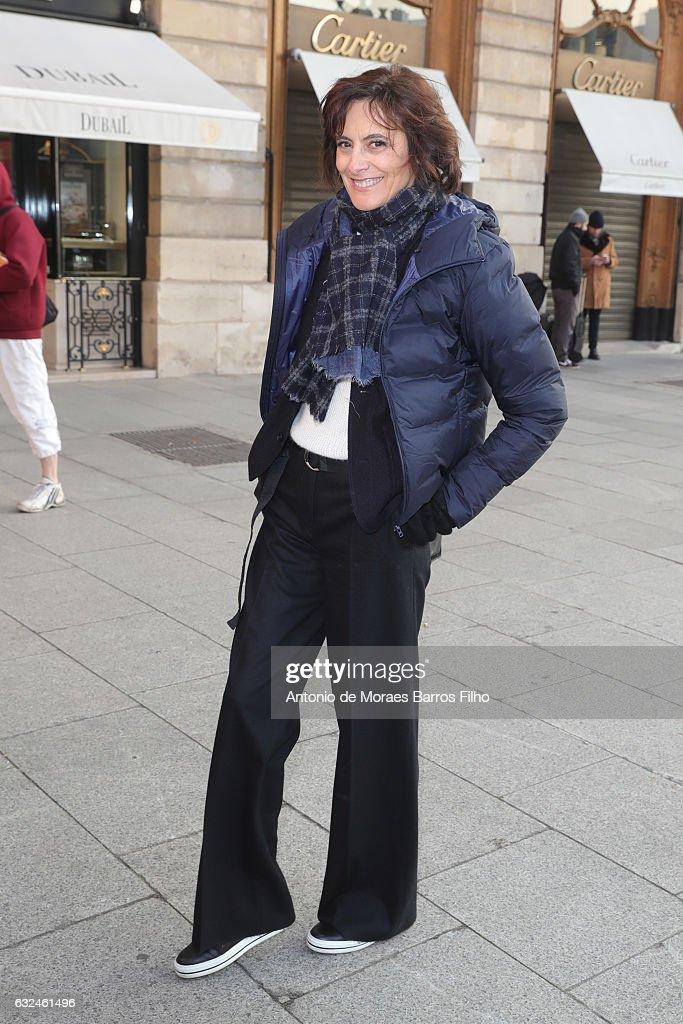 Ines de la Fressange attends the Schiaparelli Haute Couture Spring Summer 2017 show as part of Paris Fashion Week on January 23, 2017 in Paris, France.