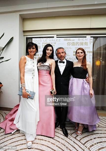 Ines de la Fressange Fan Bingbing Cyril Chapuy and Julianne Moore attend a L'Oreal Cocktail Reception during The 66th Annual Cannes Film Festival at...