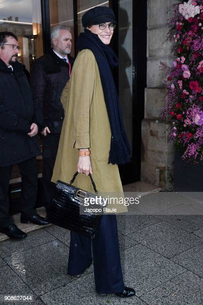 Ines de la Fressange is seen arriving at Schiaparelli Fashion show during Paris Fashion Week Haute Couture Spring/Summer 2018 on January 22 2018 in...