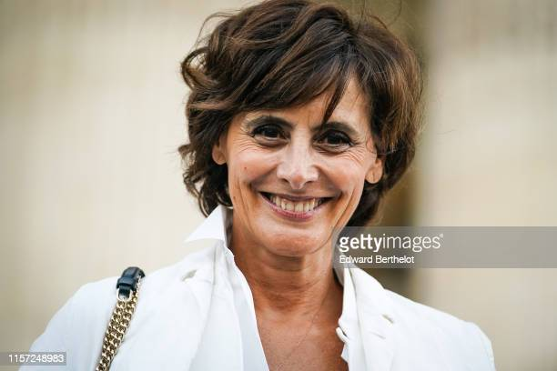 Ines de la Fressange is seen outside Karl for Ever Tribute to Karl Lagerfeld at Grand Palais during Paris Fashion Week Menswear Spring/Summer 2020 on...