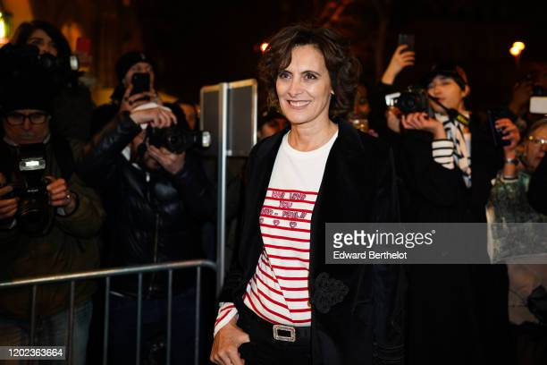 Ines de La Fressange is seen outside the JeanPaul Gaultier show during Paris Fashion Week Haute Couture Spring/Summer 2020 on January 22 2020 in...