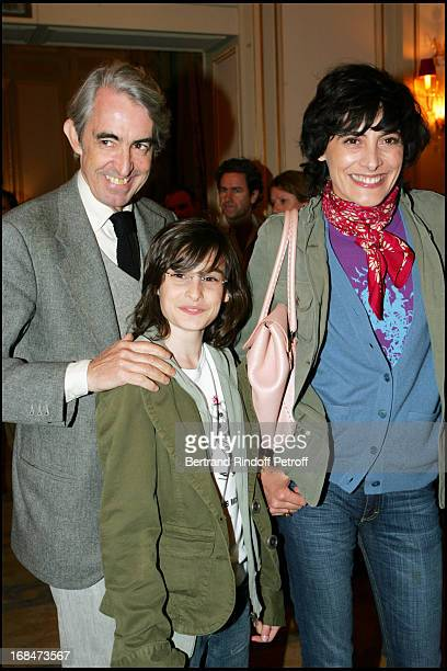 Ines De La Fressange Luigi D'Urso and their daughter Nine at Dayle Haddon Mes 5 Secrets De Jeunesse Booksigning At Plaza Athenee