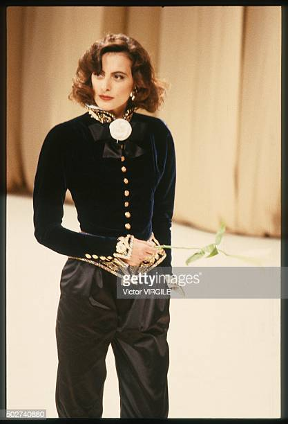 Ines de la Fressange walks the runway during the Chanel Haute Couture show as part of Paris Fashion Week Fall/Winter 19881989 in July 1988 in Paris...