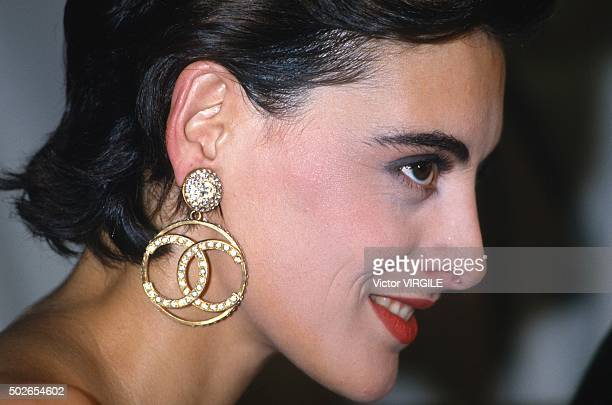 Ines de la Fressange walks the runway during the Chanel show as part of Paris Fashion Week Fall/Winter 19851986 in March 1985 in Paris France