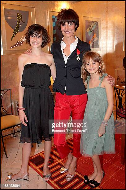 Ines de La Fressange with her daughters Nine and Violette at Ines De La Fressange Awarded Knight in the National Order of the Legion of Honor