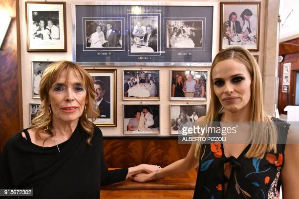 Ines Di Lelio sister of Alfredo III and her daughter Chiara Cuomo pose for photographs at the Il Vero Alfredo Restaurant in Rome on February 7 2018...
