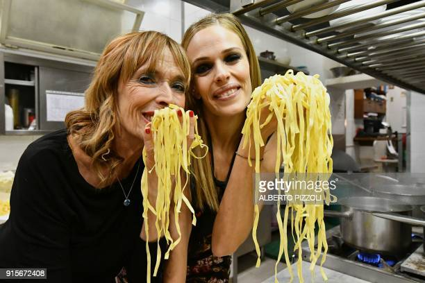 Ines Di Lelio sister of Alfredo III and her daughter Chiara Cuomo pose for photographs in the kitchens at the Il Vero Alfredo Restaurant in Rome on...