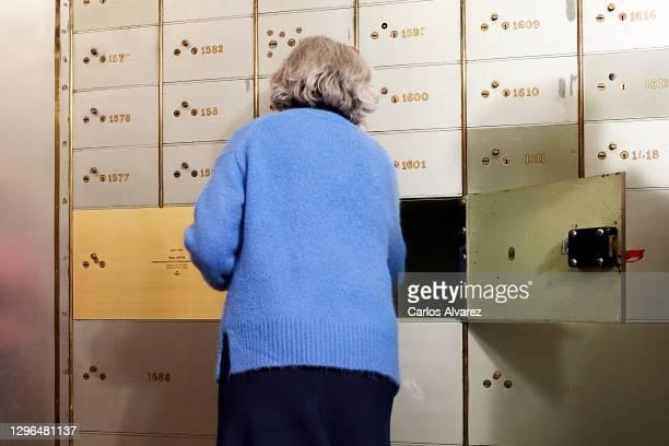 Ines Garcia-Albi Gil de Biedma, niece of the poet Jaime Gil de Biedma, deposits the poet's legacy in his safe deposit box 'Caja De Las Letras' at the...