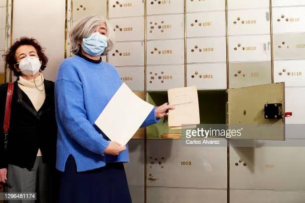 Ines Garcia-Albi Gil de Biedma , niece of the poet Jaime Gil de Biedma, deposits the poet's legacy in his safe deposit box 'Caja De Las Letras' at...