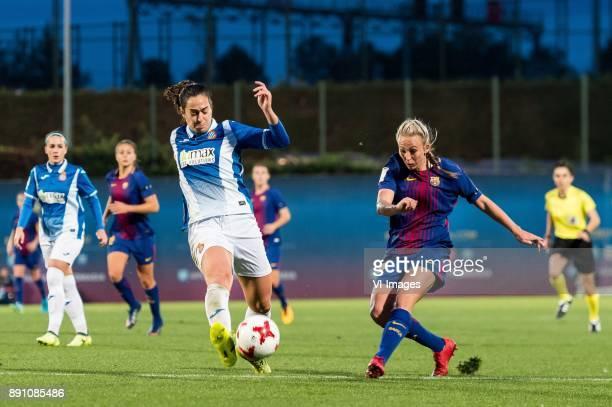Ines Juan Altamira of Espanyol women Toni Duggan of FC Barcelona women during the La Liga woman 201718 match between FC Barcelona and RCD Espanyol at...