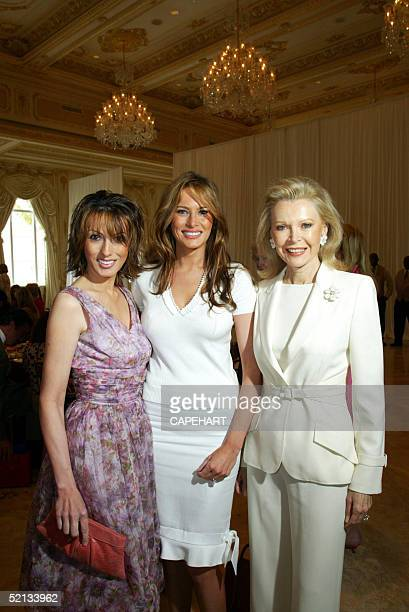 Ines Knauss, Melania Trump, and Audrey Gruss attend the Valentino Fashion Luncheon benefitting Boy's Club of New York at Mar-a-Lago February 4, 2005...