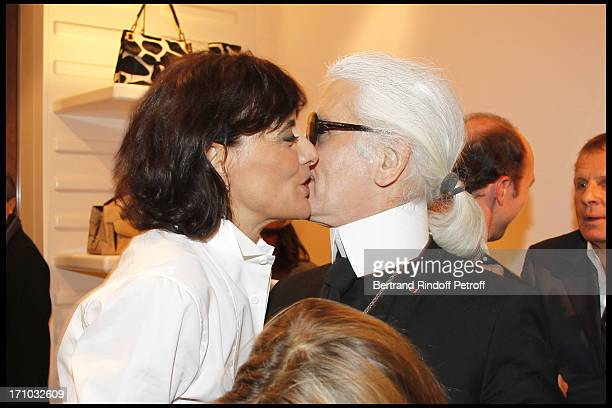 Ines of La Fressange with Karl Lagerfeld and her daughter Violette D'Urso at Ines De La Fressange And Sophie Gachet Present Their Book La Parisienne...