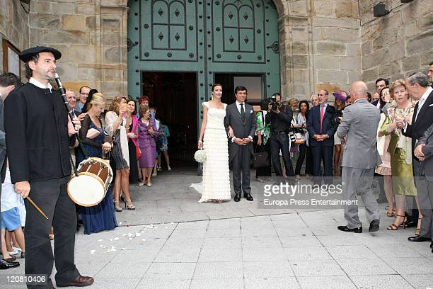 Ines Sainz and her husband Christian Martin Perez Carrion attend their wedding at the San Vicente Abando Chapel on August 10 2011 in Bilbao Spain