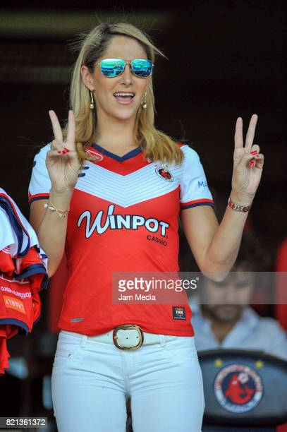 Ines Sainz is seen in the stands during the 1st round match between Veracruz and Necaxa as part of the Torneo Apertura 2017 Liga MX at Luis 'Pirata'...