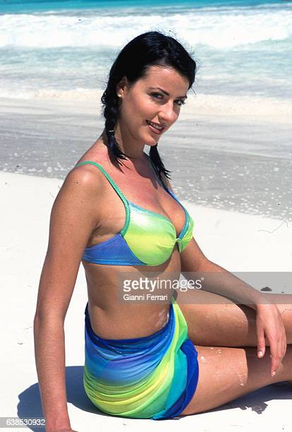 Ines Sainz Miss Spain 1997 in Victoria Beach 11th June 1997 Mahe Island in the Islands of Seychelles