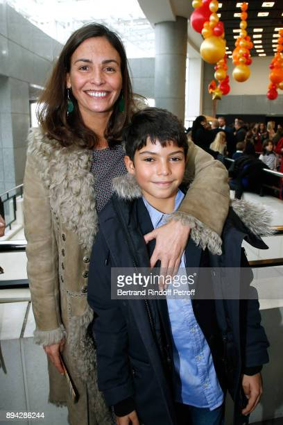 Ines Sastre and her son Diego attend the 32th 'Reve d'Enfants' Charity Gala at Opera Bastille on December 17 2017 in Paris France