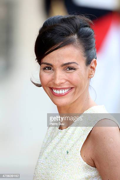 Ines Sastre attends a state dinner in Honnor of King Felipe VI and Queen Letizia of Spain at the Elysee Palace on June 2 2015 in Paris France