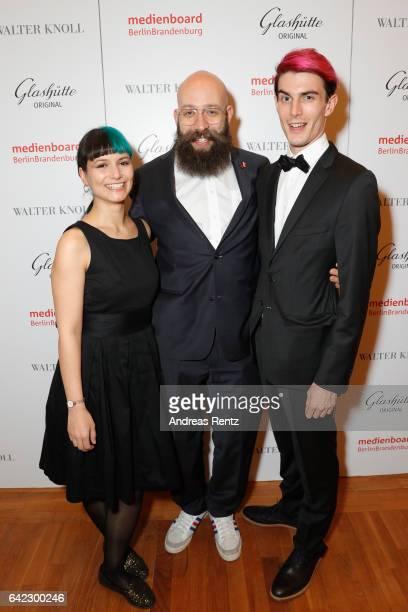 Ines Schiller Jakob Lass and Golo Schultz attend the Medienboard BerlinBrandenburg Reception sponsored by Glashuette Original on February 9 2017 in...