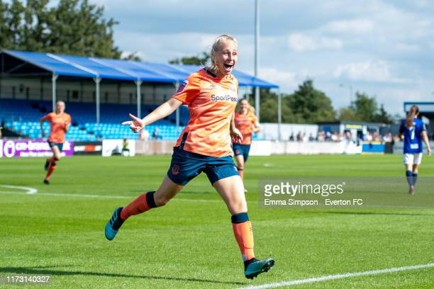 Inessa Kaagman of Everton reacts to own goal putting Everton 01 up during the Barclays FA Women's Super League match between Birmingham City and...