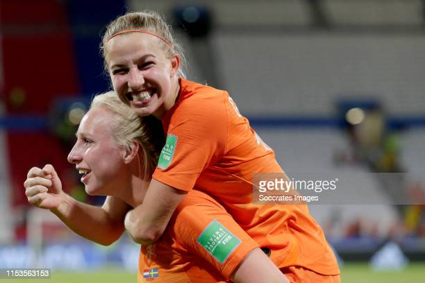 Inessa Kaagman of Holland Women Jackie Groenen of Holland Women celebrates the victory during the World Cup Women match between Holland v Sweden at...