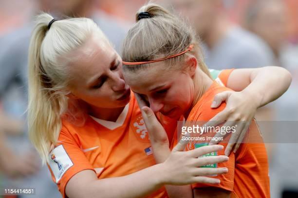 Inessa Kaagman of Holland Women, Jackie Groenen of Holland Women during the World Cup Women match between USA v Holland at the Stade de Lyon on July...