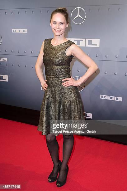 Inez Bjoek David attends the Berlin premiere of the film 'Starfighter - Sie wollten den Himmel erobern' at Kino International on March 18, 2015 in...