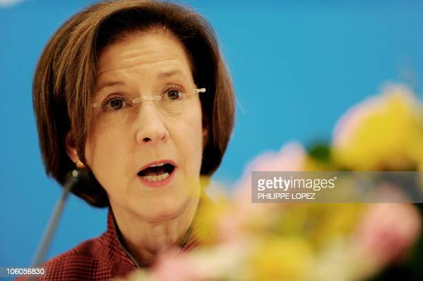Inez Moore Tenenbaum chairperson of the US Consumer Product Safety Commission answers a question during a press conference following the second...