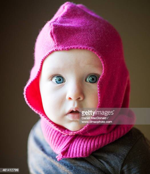 Infant baby girl wearing homemade cashmere hood