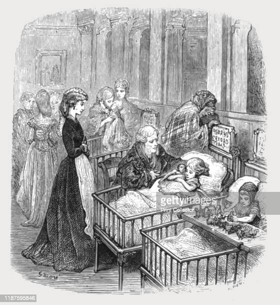 """Infant Hospital Patients', 1872. From, """"LONDON. A Pilgrimage"""" by Gustave Dore and Blanchard Jerrold. [Grant and Co., 72-78, Turnmill Street, E.C.,..."""