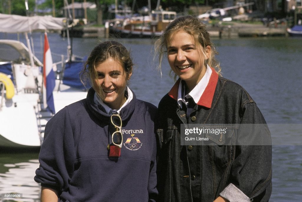 Infanta Cristina de Borbon with her friend Vicky Fumado In the harbour of Palma