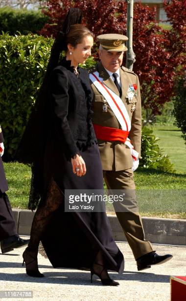 Infanta Elena of Spain during Infanta Elena of Spain Presents a New Banner to the Regimiento de Transmisiones in Madrid at Madrid Military Base in...