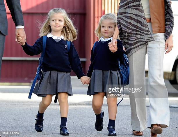 Infanta Leonor and Infanta Sofia arrive at 'Santa Maria de los Rosales' School on September 15 2010 in Madrid Spain