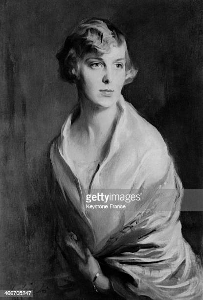 Infanta Maria Cristina of Spain daughter of King Alfonso XIII and of Victoria Eugenie painted by famous painter Philip De Laszlo circa 1920 in Madrid...