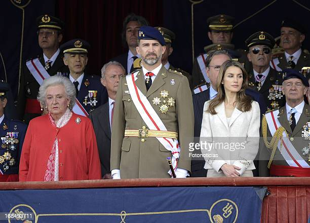 Infanta Pilar de Borbon Prince Felipe of Spain and Princess Letizia of Spain attend the new Royal Guards flag ceremony at El Cuartel El Rey on May 10...